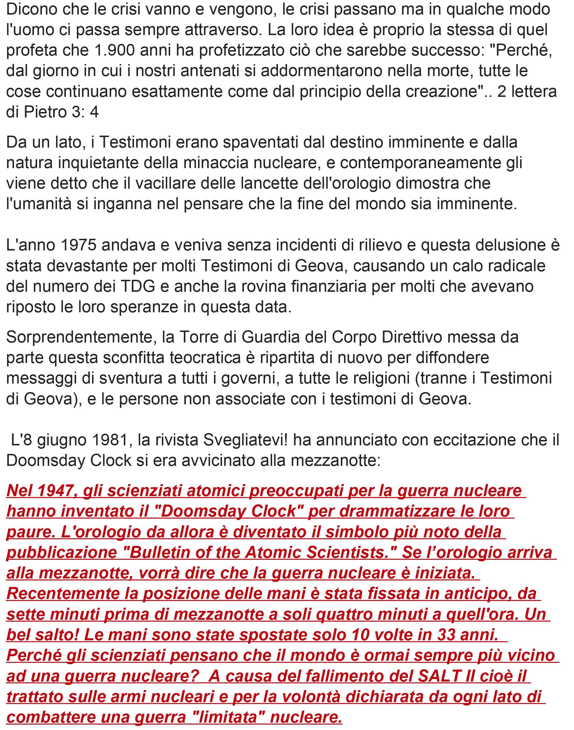 I TESTIMONI DI GEOVA E IL DOOMSDAY CLOCK – L'OROLOGIO DELLA FINE DEL MONDO-3