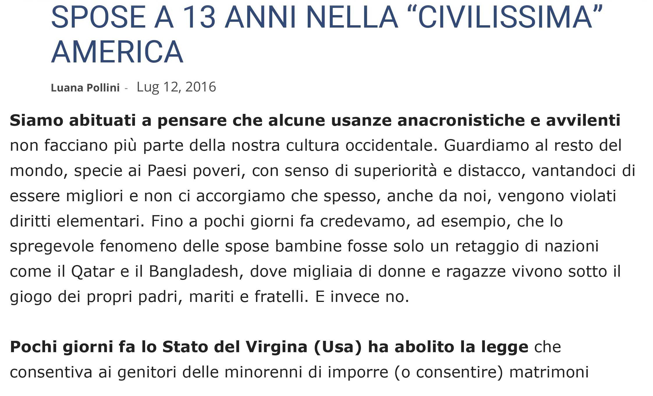 SPOSE A 13 ANNI NELLA _CIVILISSIMA_ AMERICA - In Terris - News on line-1