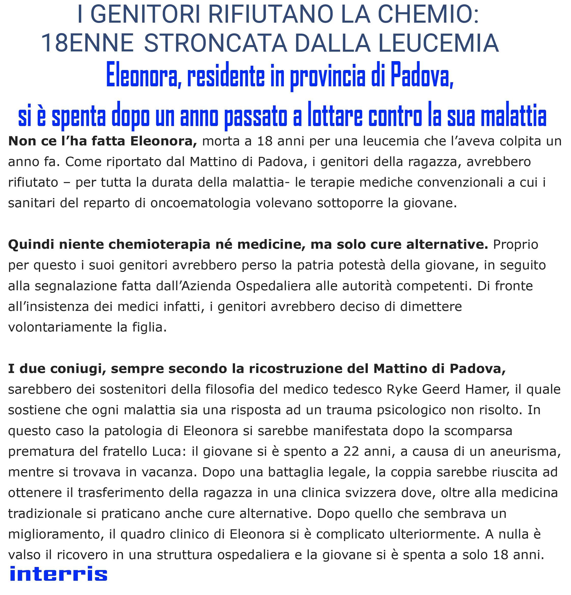 I GENITORI RIFIUTANO LA CHEMIO_ 18ENNE STRONCATA DALLA LEUCEMIA - In Terris - News on line-1