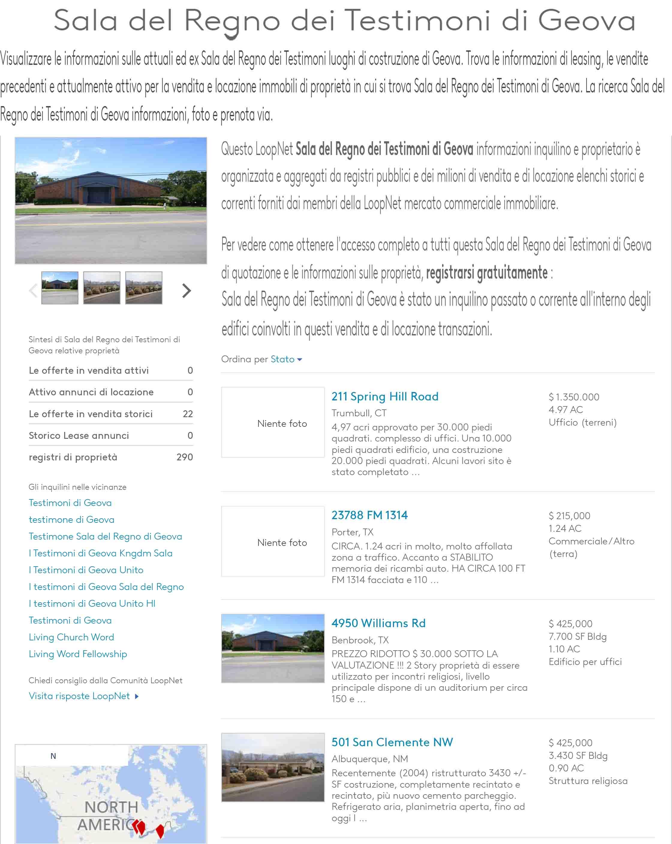 Sala del Regno dei Testimoni di Geova - Luoghi, Sale & Lease Transaction Storia e Informazioni generali-1