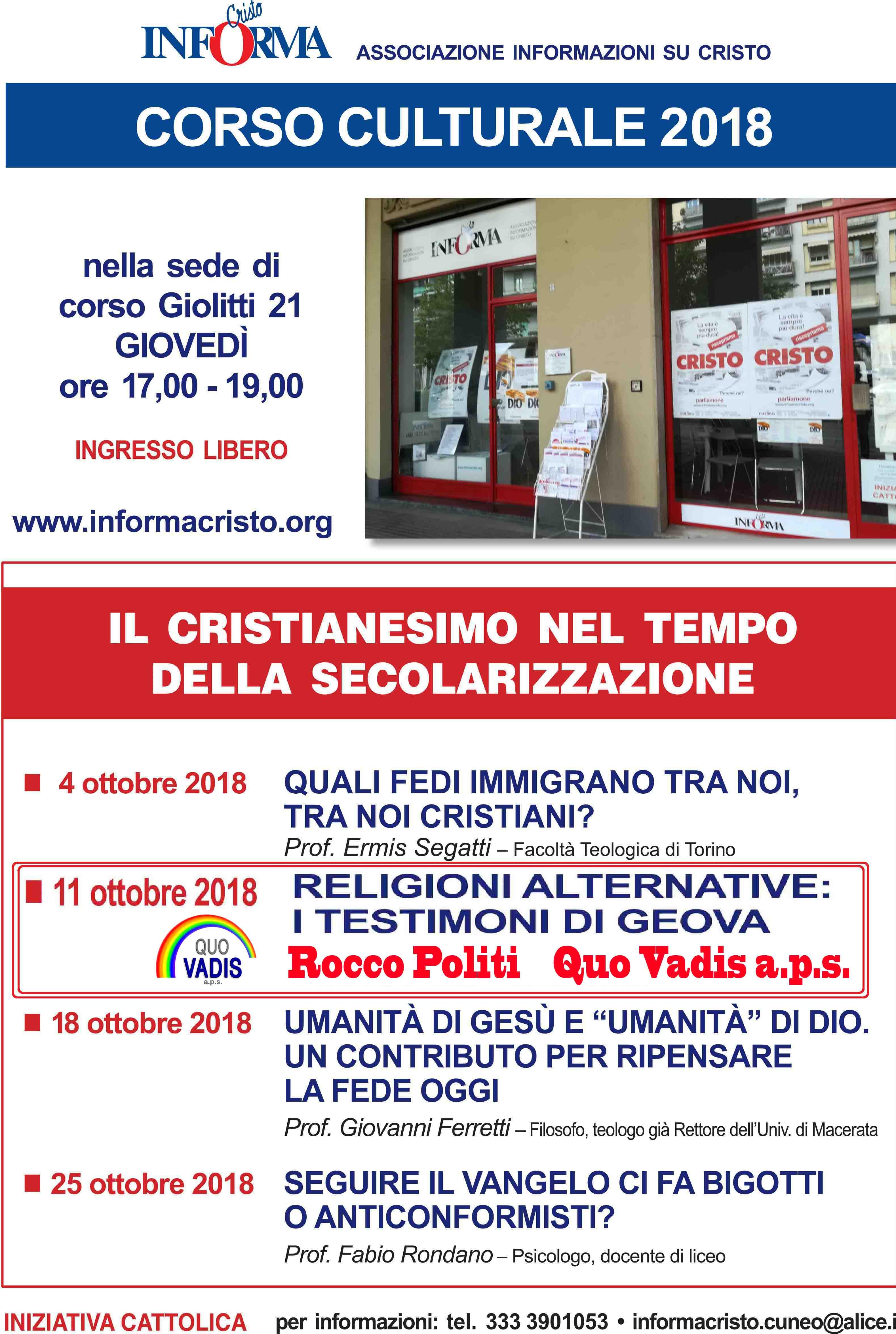 Locandina CORSO CULTURALE 2018 2
