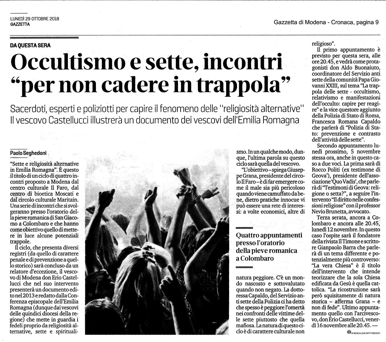 2018 10 29 Gazzetta di Modena